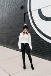 bows&sequins,blogger,sweater,jeans,hat,belt,shoes,beanie,winter outfits,gucci belt,ankle boots