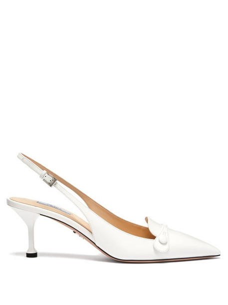 Prada - Buttoned Slingback Leather Pumps - Womens - White