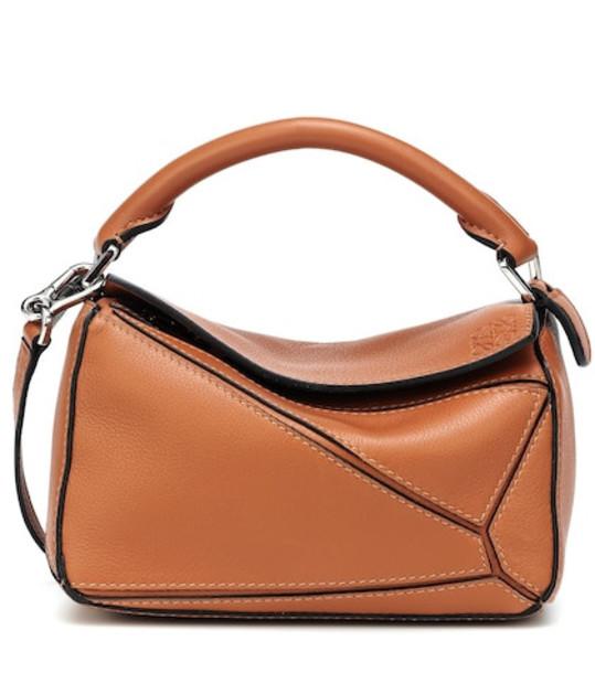 Loewe Puzzle Mini leather shoulder bag in brown