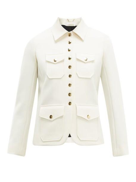 Chloé Chloé - Single Breasted Twill Utility Jacket - Womens - Ivory