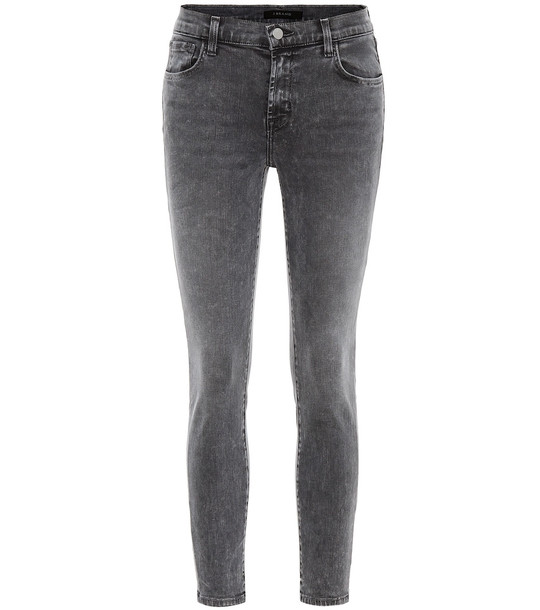 J Brand 835 cropped mid-rise skinny jeans in grey