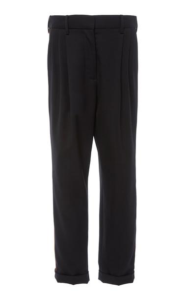 NILI LOTAN Montana Wool-Blend Straight-Leg Pants in black
