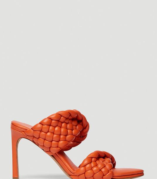 Bottega Veneta Heels Women - BV Curve Sandals Orange 100% Leather. EU - 38