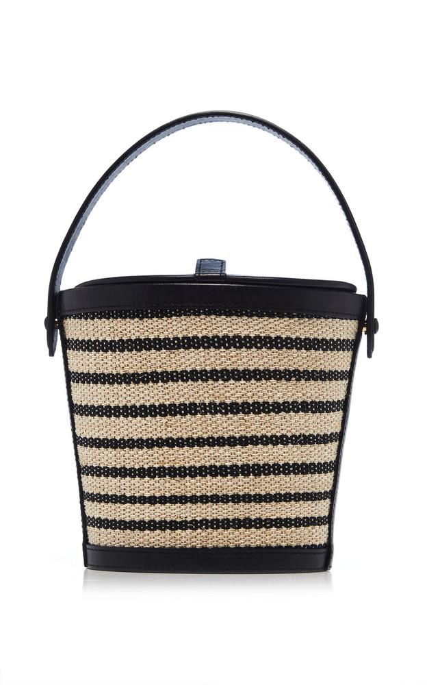 Hunting Season Striped Nappa Leather Bucket Bag in black