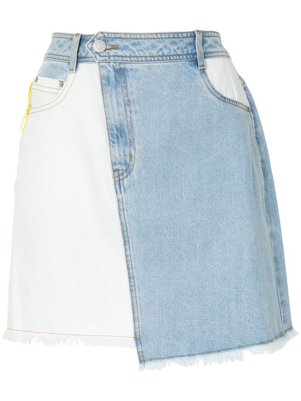 PortsPURE asymmetric contrast panel skirt in blue
