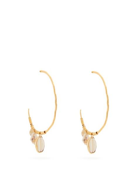 Elise Tsikis - Chaidari Shell Charm Gold Plated Hoop Earrings - Womens - White