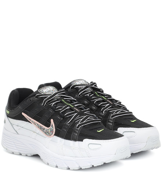 Nike P-6000 SE mesh and leather sneakers in black