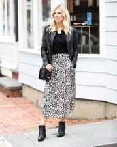 shoes,ankle boots,heel boots,leopard print,midi skirt,black and white,leather jacket,black top,black bag