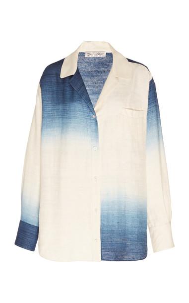 Oscar de la Renta Oversized Tie-Dye Silk Button-Up Blouse in white