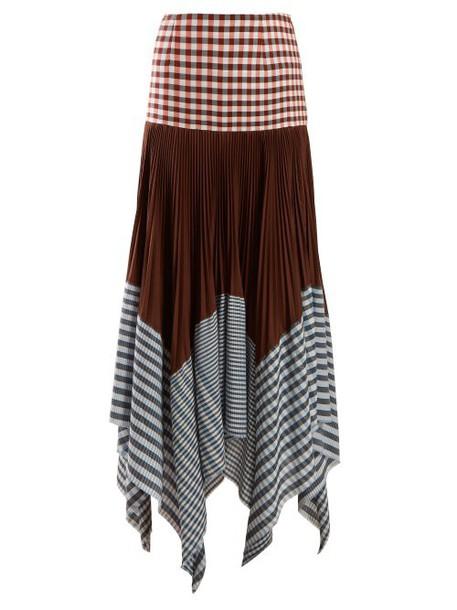 Loewe - Asymmetric Pleated Gingham Handkerchief Skirt - Womens - Multi