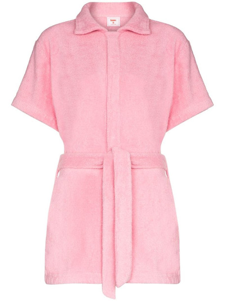 cotton-terry playsuit in pink