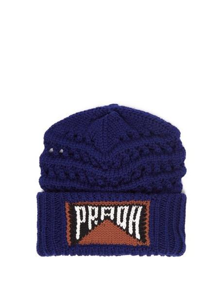 Prada - Logo Intarsia Wool Beanie Hat - Womens - Blue