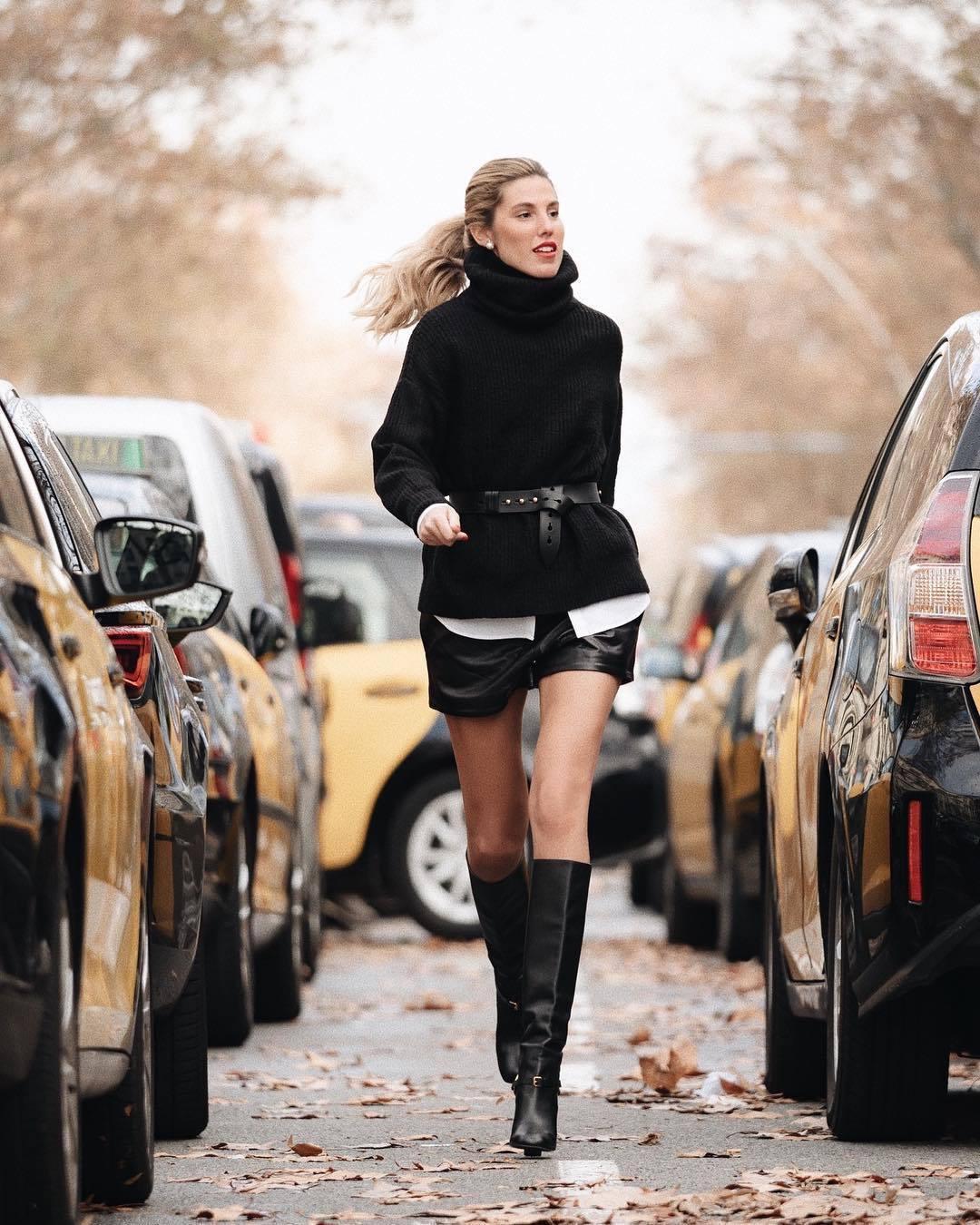 shorts black shorts leather shorts black boots knee high boots black sweater turtleneck sweater black belt white shirt