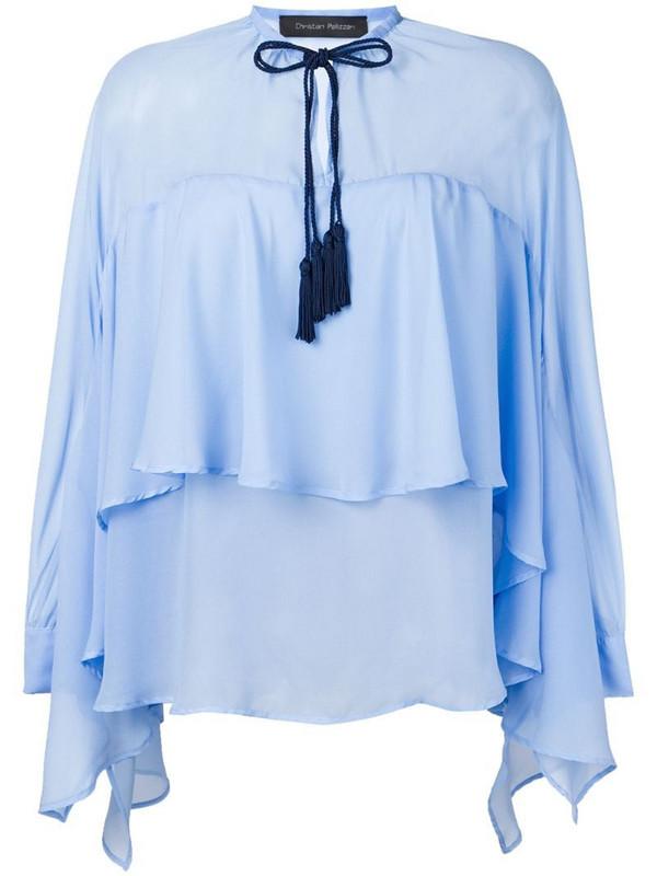 Christian Pellizzari draped blouse in blue