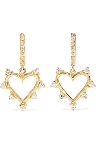 Marlo Laz - Open Heart 14-karat Gold Diamond Hoop Earrings