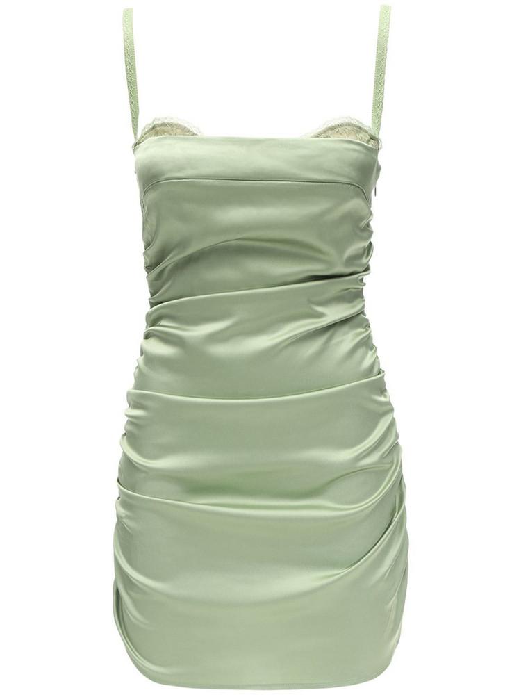 DANIELLE GUIZIO Ruched Satin & Lace Corset Dress in green