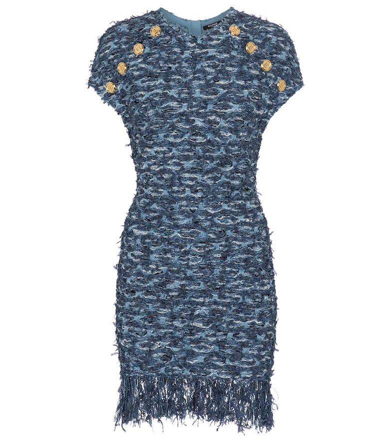 Balmain Bouclé tweed minidress in blue