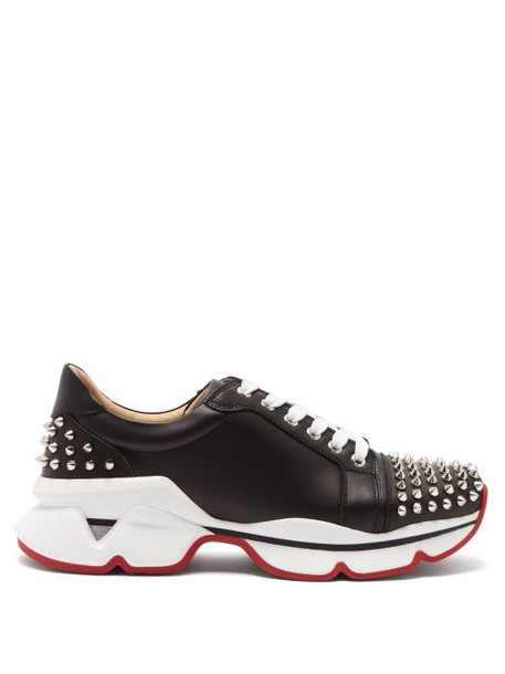 Christian Louboutin - Spike Embellished Leather Trainers - Womens - Black