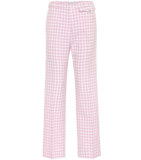Paco Rabanne Checked high-rise straight pants in pink
