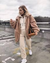 jacket,teddy jacket,pretty little thing,white shoes,platform shoes,joggers,hoodie,louis vuitton bag,brown bag,shoulder bag