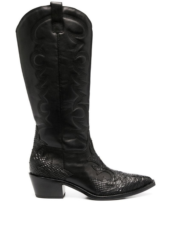 Ash Dream cowboy-style leather boots in black