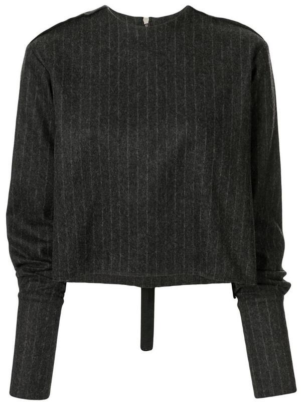 Yang Li pinstripe knitted top in black