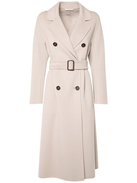 'S MAX MARA Doubled Pure Wool Coat W/ Belt in ivory