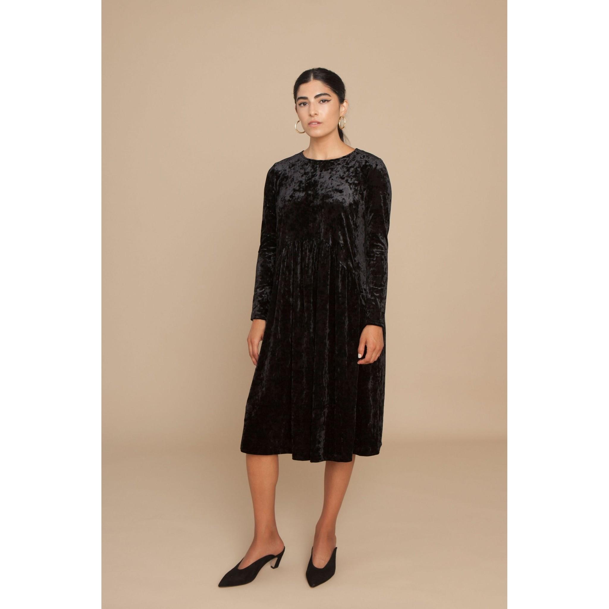 SOLIKA Black Velvet Heidi Dresses at The Stockist