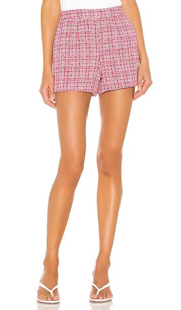 L'AGENCE Ashton Tweed Short in Pink in fuchsia