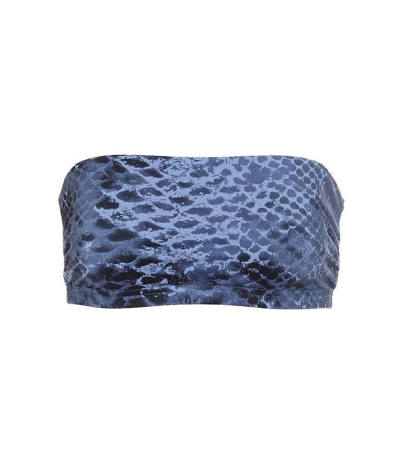 Karla Colletto Bree snakeskin-print bandeau bikini top in blue