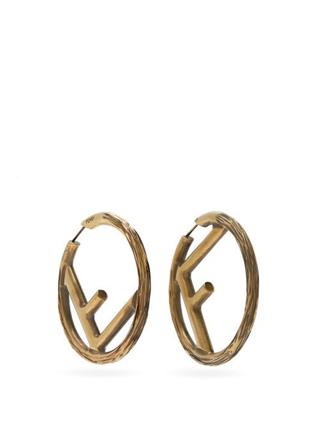 Fendi - F-logo Large Hoop Earrings - Womens - Gold