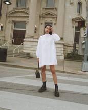 dress,white dress,mini dress,long sleeve dress,black boots,DrMartens,ankle boots,black bag