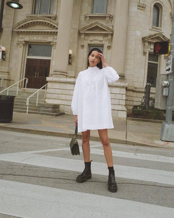 dress white dress mini dress long sleeve dress black boots DrMartens ankle boots black bag
