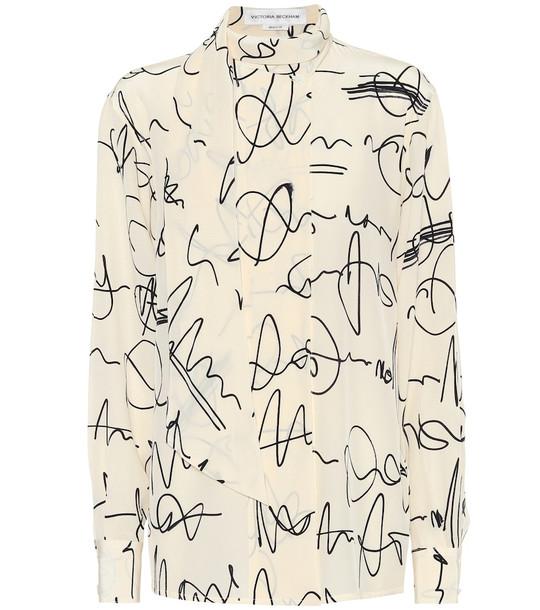 Victoria Beckham Printed silk crêpe de chine blouse in white