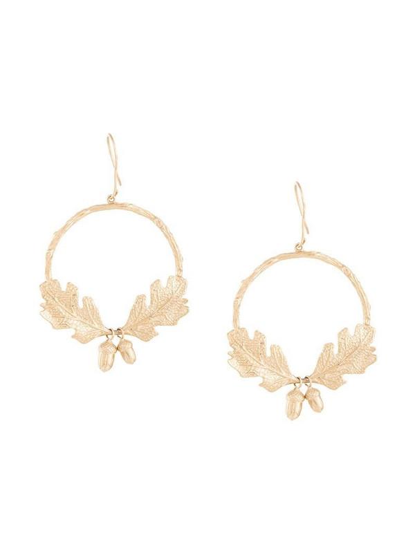 Karen Walker acorn & leaf wreath earrings in gold
