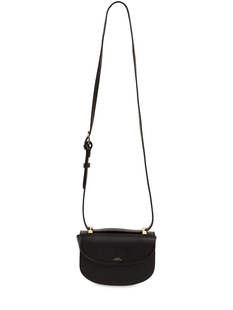 A.P.C. Mini Genève Saffiano Leather Bag in black
