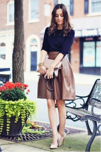 skirt midi skirt brown leather skirt sweater blue blue sweater shoes pumps high heels heels bag light pink clutch leather