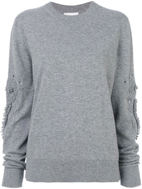 Barrie Romantic Timeless cashmere round neck pullover in grey