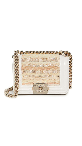 What Goes Around Comes Around Chanel Embellished Boy Mini Bag in beige