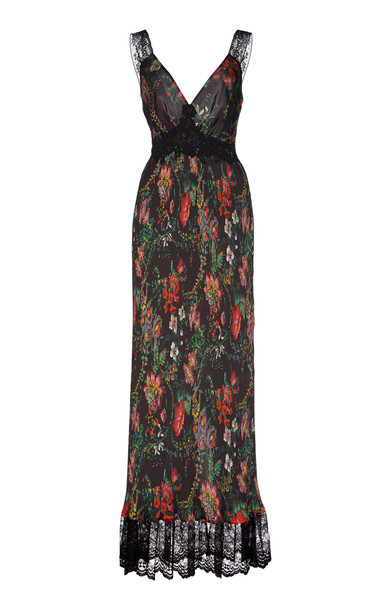 Paco Rabanne Printed Sateen Pleated Maxi Dress Size: 34 in print
