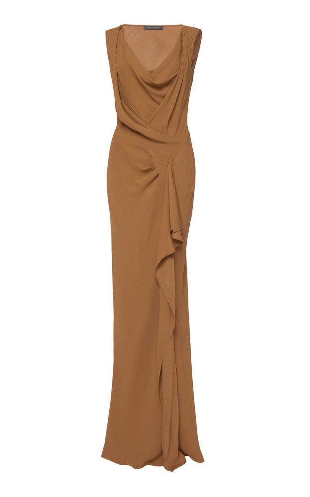 Alberta Ferretti Draped Neck Satin Dress in brown