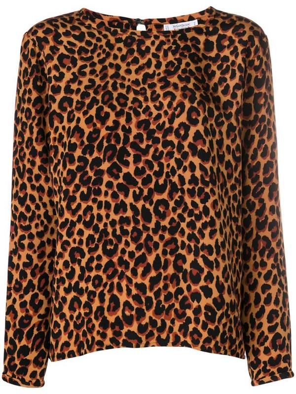 Yves Saint Laurent Pre-Owned leopard-print blouse in brown