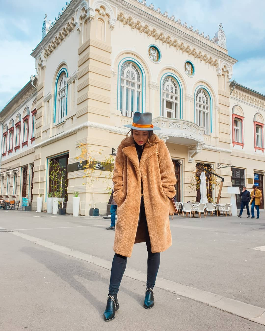 coat teddy bear coat ankle boots black boots black skinny jeans hat