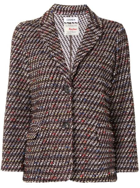 Coohem velvet tweed jacket in brown