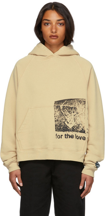 Reese Cooper Cotton Stamp Hoodie in khaki