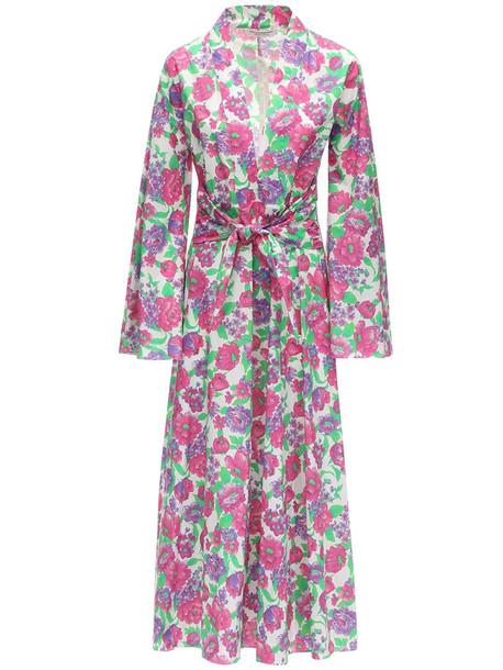 PHILOSOPHY DI LORENZO SERAFINI Lvr Exclusive Printed Poplin Long Dress in fuchsia / multi