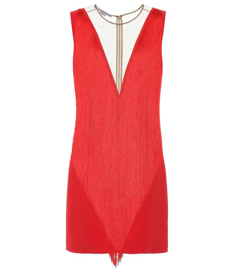 Stella McCartney Fringe crêpe minidress in red