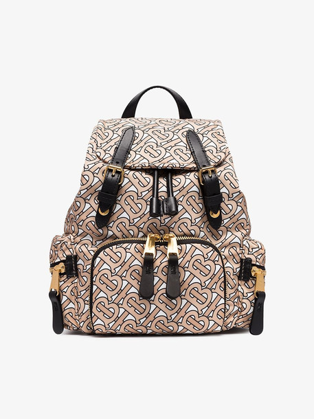 Burberry beige and black TB monogram small backpack