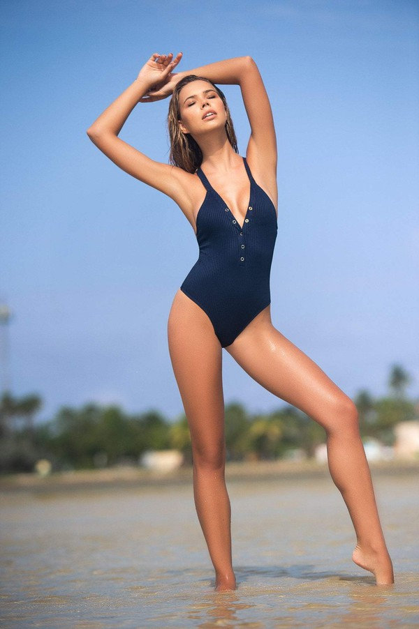 swimwear ribbed swimsuit blue swimwear blue one piece swim wear designer swimwear