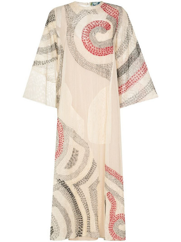 By Walid Rima embroidered dress in neutrals